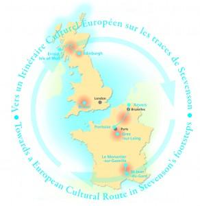 Carte représentant les territoires du réseau européen Stevenson